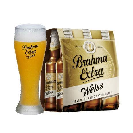 Kit 6 Cervejas Brahma Extra Weiss 355ml + 1 Copo - Cerveja ... 5d4e1836d2