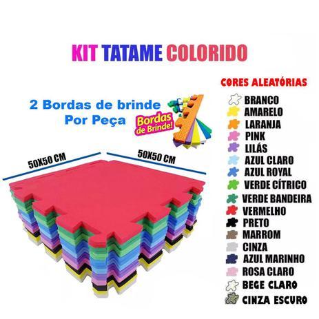 Imagem de Kit 6 Pçs Tapete emborrachado De Eva Tatame Escolar Infantil 50x50x1cm