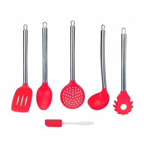 Imagem de Kit 6 Peças  Utensílios Cozinha Silicone Concha Colher Espat