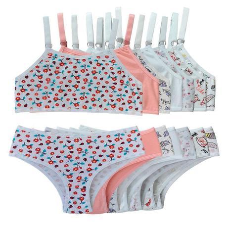 Imagem de Kit 7 Conjuntos calcinha e sutia top infantil menina