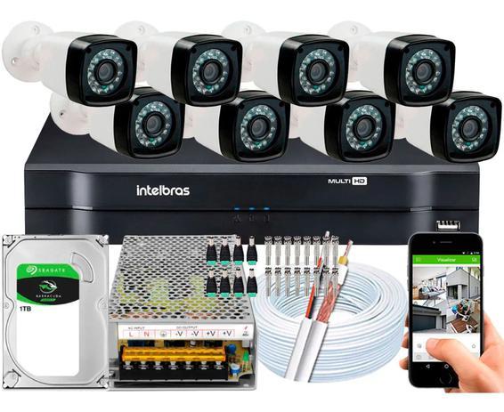 Imagem de Kit 8 Cameras Segurança Dvr Intelbras Full Hd 8ch mhdx c/hd