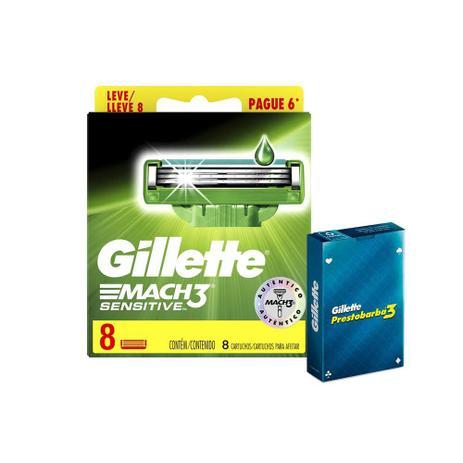 Imagem de Kit 8 Cargas Gillette Mach3 Sensitive + Baralho Gillette