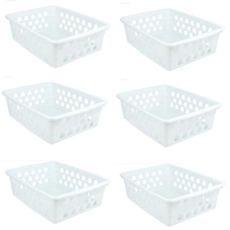 Imagem de Kit 8 Cesto Organizador Multiuso Grande G Branco Uninjet