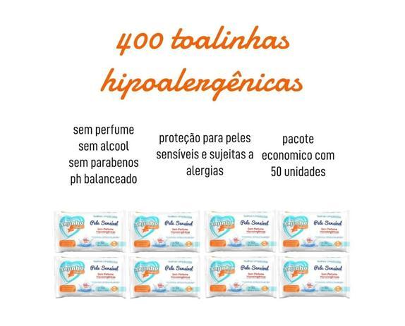 Imagem de Kit 8 Lenços Umedecidos Toalhinhas Pele Sensivel Bebê Anjinho
