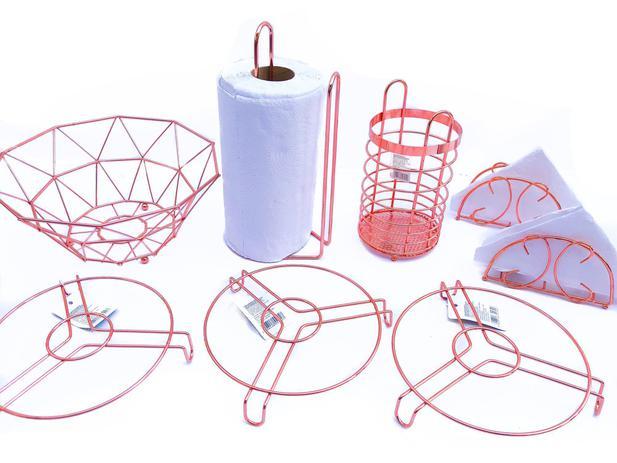 Imagem de Kit 8 Pçs Fruteira Rose + Porta Talher Rose + Papel Toalha + 2 Guardanapos + 3 Descanso de Panela