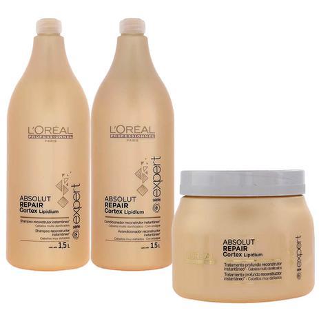 af0d344c8 Kit Absolut Repair Cortex Shampoo 1,5L + Máscara 500g + Condicionador 1,5L  - Loréal Professionnel - Loréal profissional