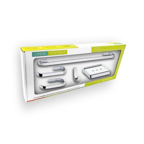 Imagem de Kit Acessórios de Banheiro 5 Peças Metal Cromado Verona