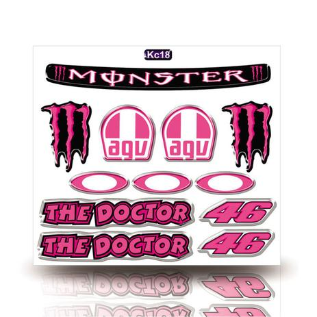 Imagem de Kit Adesivo Decorativo Capacete Resinado 3D,Monster,  Agv, Monster, The Doctor, Carro Moto GP