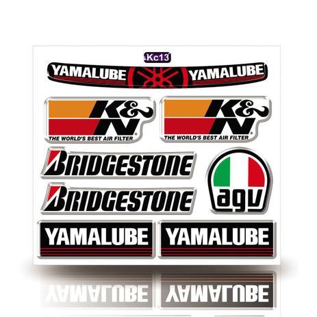 Imagem de Kit Adesivo Decorativo Capacete Resinado 3D, Yamalube, Agv, Bridgestone, Carro Moto GP