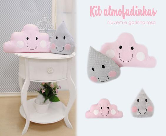 Imagem de kit Almofada Decorativa Infantil Nuvem e Gota Menina