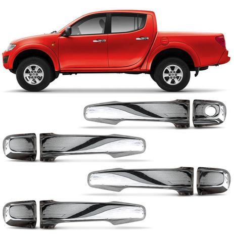 Imagem de Kit Apliques Cromados de Maçaneta Mitsubishi L200 Triton 2008 a 2019 4 Portas Encaixe Sob Medida