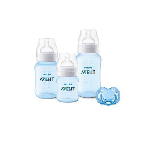 Imagem de Kit Avent Classic+ 3 Mamadeiras Azul e Chupeta