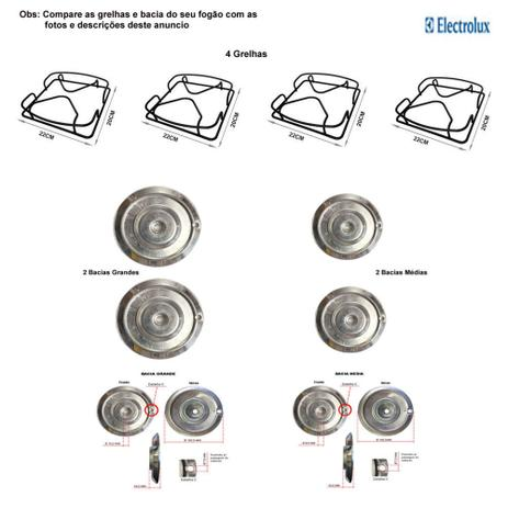 Imagem de Kit bacias + grelhas p/ fogões electrolux 4 bocas 50 erx
