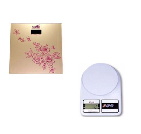 Imagem de Kit Balança de Cozinha e de Peso Corporal de alta precisão vidro p/ banheiro academia dieta
