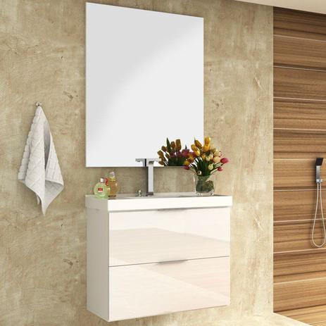 Kit Banheiro Gabinete 80cm Pia E Espelho Pietra Branco Bosi