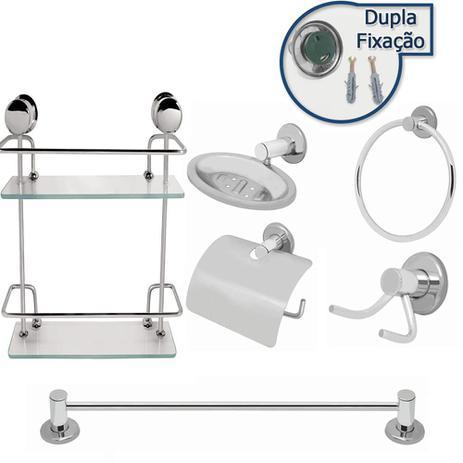 Imagem de Kit Banheiro Inox 6pcs Com Porta Shampoo Duplo Reto Vidro 6mm Linha Stander