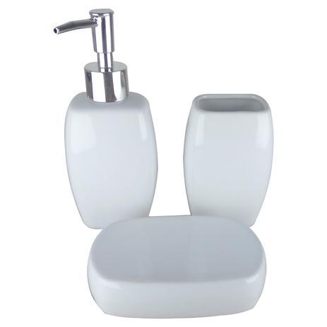 Kit Banheiro Porcelana 3 Peças Saboneteira Sabonete Liquido Yazi