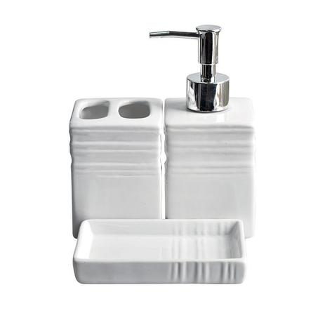 Kit Banheiro Porcelana Quadrado 3pcs Luxo Zein