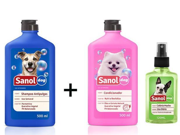 Imagem de Kit Banho para cães: Shampoo Anti pulga para cachorro + Condicionador Revitalizante + Colonia Perfume Cães Macho Sanol Dog