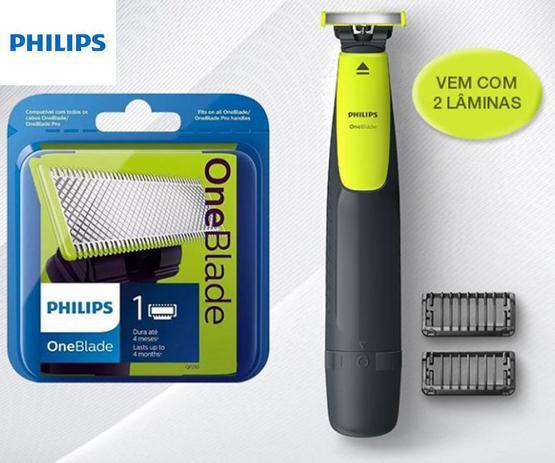 Imagem de Kit Barbeador Aparador Elétrico Philips One Blade Qp2510 + Refil