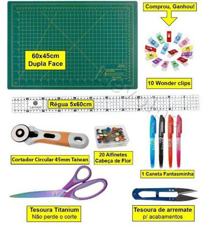 Imagem de Kit Base De Corte 60x45 + Cortador 45mm + Tesoura Patchwork