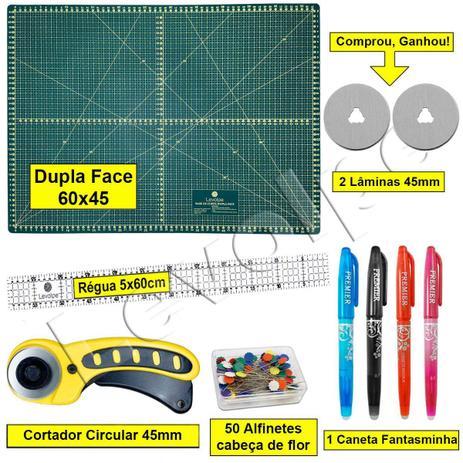 Imagem de Kit Base De Corte 60x45 + Régua 5x60 + Cortador Patchwork Scrapbook