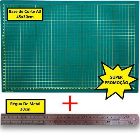 Imagem de Kit base de corte A3 + Régua de metal 30cm