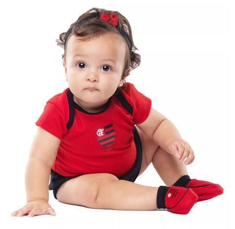 fd4775ad28687c Kit Bebê Flamengo 3 Peças Menina Torcida Baby