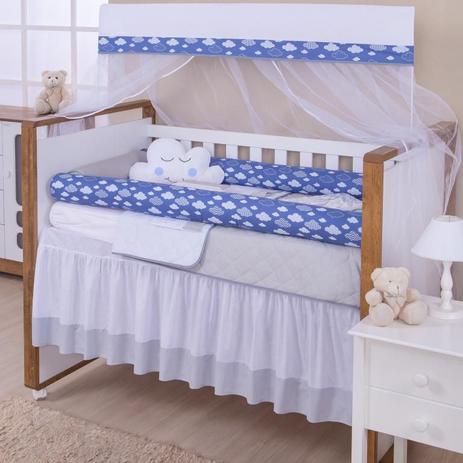 e1b990c5bb0dac Kit Berço 11 Peças Coleção Rolinho Elefante Azul - Reluz cortinas