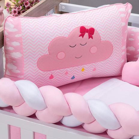 Imagem de Kit Berço Americano Menina Nuvem Rosa com Trança e Almofadas 09 Peças