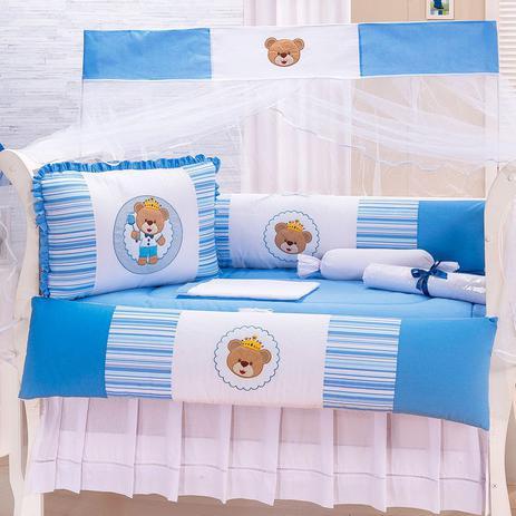 281a261557 Kit Berço Americano Nacional Menino Urso Surpresa Azul- 10 Peças - Sônia  enxovais