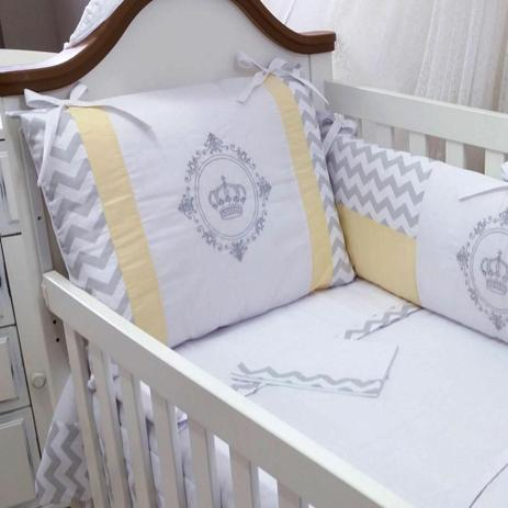 5f1225965 kit berço bordado 09 peças baby art chevron cinza amarelo - Paulinha baby