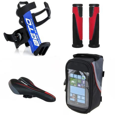 eedff6eed kit Bike sup garrafa par manopla e selim vermelho bolsa celular - Diversas