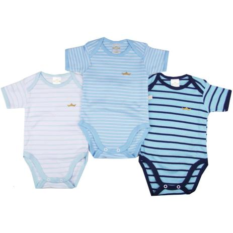 f07959742446 Kit Bodies Suedine Confort Menino Manga Curta Listrado - Best Club - Best  club baby