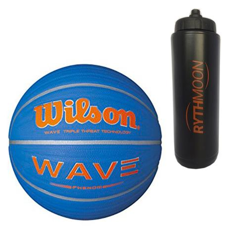 b7c08a724f Kit Bola de Basquete Wave Phenom 7 Wilson Azul com Laranja + Squeeze  Automático 1lt - Rythmoon