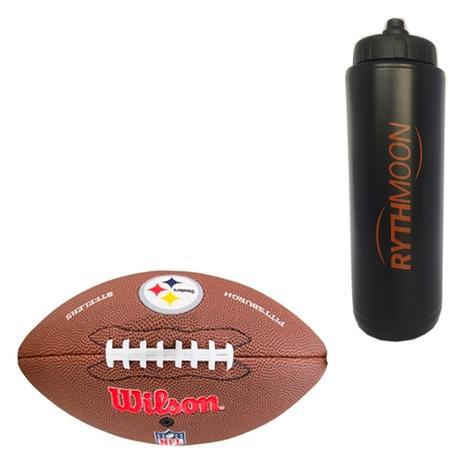 0be87a160 Kit Bola de Futebol Americano Pro Wilson Pittsburgh + Squeeze Automático  1lt - Rythmoon