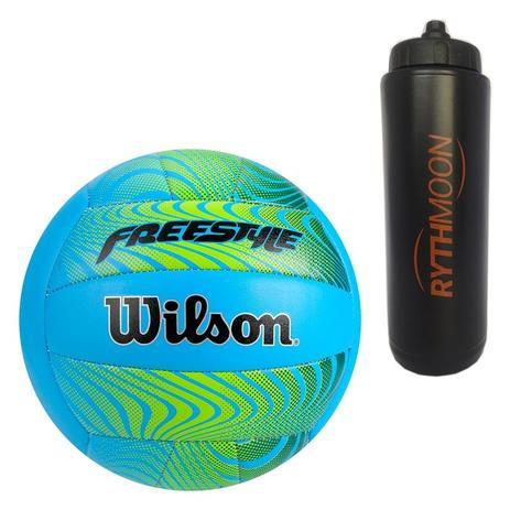 e1e13d4191 Kit Bola de Vôlei Freestyle Wilson Azul Laranja + Squeeze Automático 1lt -  Rythmoon