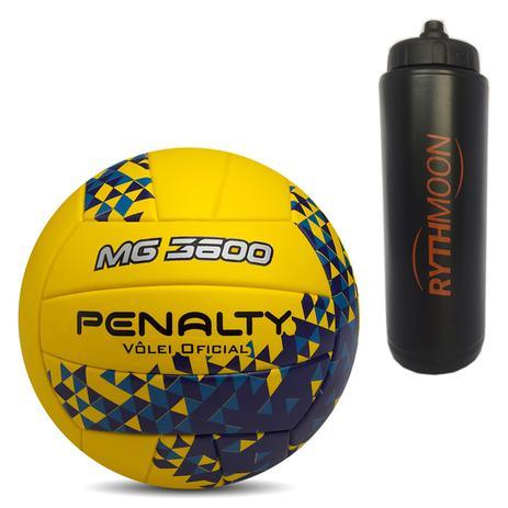 Kit Bola de Vôlei MG 3600 Fusion VIII Penalty Amarelo Azul + Squeeze  Automático 1lt - Rythmoon 15bdcdf278963