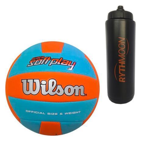 3b61d1666 Kit Bola de Vôlei Super Soft Play Wilson Azul Claro Laranja + Squeeze  Automático 1lt - Rythmoon