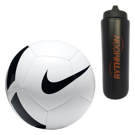 4e352d0222cad Kit Bola Futebol Campo Nike Pitch Team SC3166 Branco Preto + Squeeze  Automático 1lt - Rythmoon