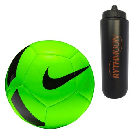 Kit Bola Futebol Campo Nike Pitch Team SC3166 Verde Preto + Squeeze  Automático 1lt - Rythmoon d048cd4171655