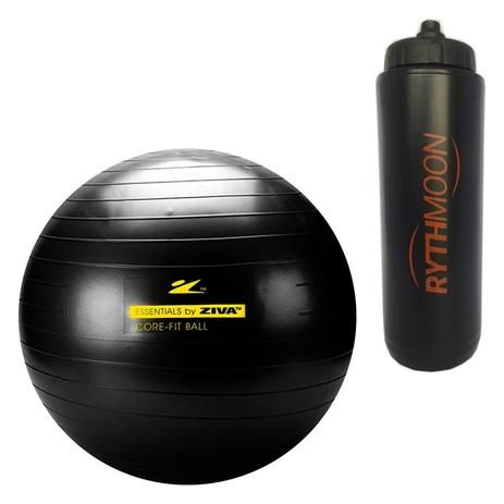Kit Bola Pilates Fitball 300kg + Bomba Ziva 55cm Preto + Squeeze Automático  1lt - Rythmoon 2b17783caefed