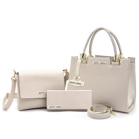 Imagem de Kit Bolsa Castelo Marfim com Bolsa Bau  e carteira