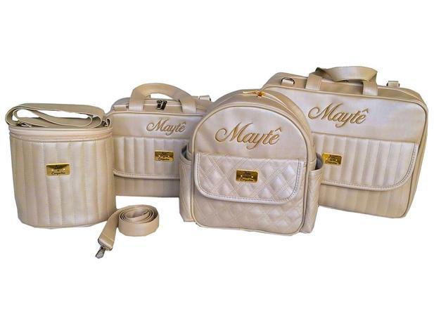 4a76379dc Kit Bolsa De Bebe Saída Maternidade Personalizada Linho Luxo 5 Peças - Arte  e companhia