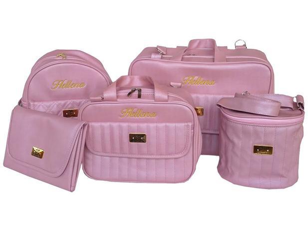 072f1bd7c Kit Bolsa De Bebe Saída Maternidade Personalizada Linho Luxo 5 Peças - Arte  e companhia