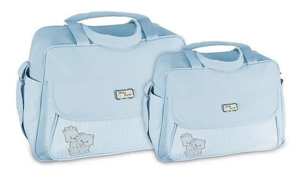 Imagem de Kit Bolsa Mala Maternidade Bebê Menina Menino Atacado Mave Azul Claro
