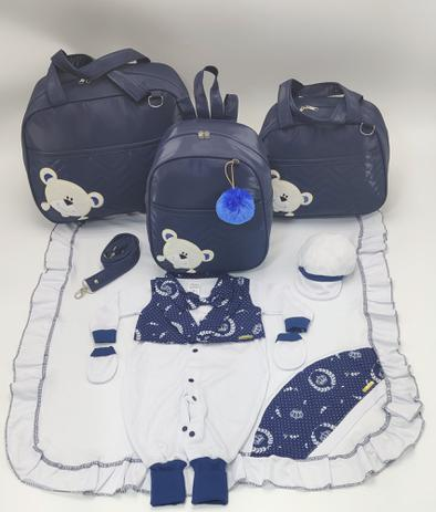 Imagem de Kit bolsa maternidade 3 peças urso marinho + saida maternidade