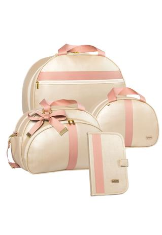 Imagem de kit bolsa maternidade 4 peças Lyssa Baby Duna marfim e rosé
