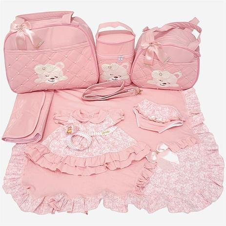 Imagem de Kit Bolsa Maternidade 4pcs Urso + Saída Rosa vestido