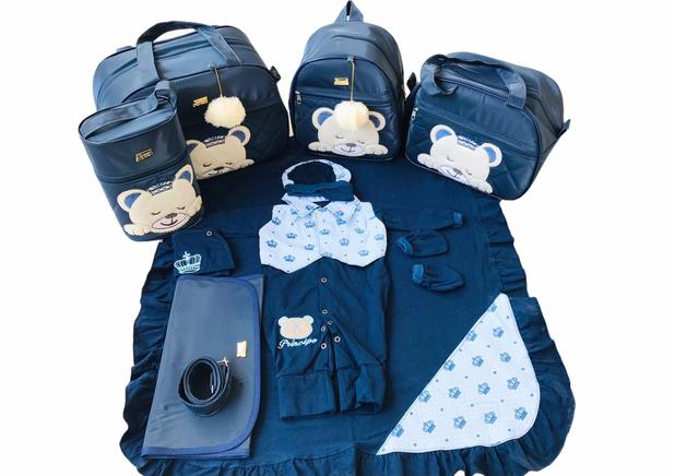 Imagem de Kit Bolsa Maternidade 5 Peças Completo Urso Dormindo Térmico Com Saída Maternidade Azul Marinho